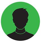Silhuett av en man med grön bakgrundsfärg