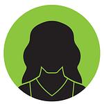 Silhuett av en kvinna med grön bakgrundsfärg